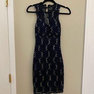 Navy Lace/with Silver Sequins